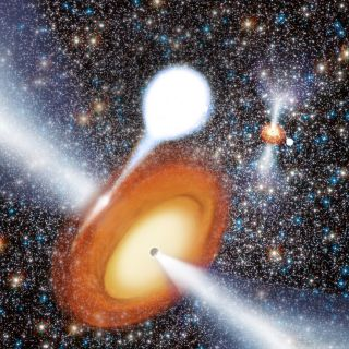 Artist's Conception of a Black Hole in a Globular Cluster.