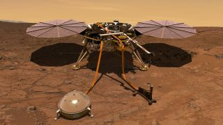 An artist's depiction of NASA's InSight lander at work on Mars, with the dome of the seismometer in the foreground.
