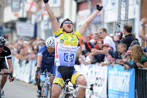 Michael Berling celebrates winning, CiCLE Classic 2010