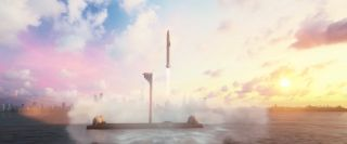 This screenshot from a SpaceX animation shows a Starship spacecraft launching from an offshore spaceport.