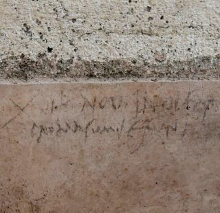 This graffiti, recently discovered on the wall of a Pompeii house, suggests that Mount Vesuvius blew its top in the autumn of A.D. 79, not in August as some had thought.