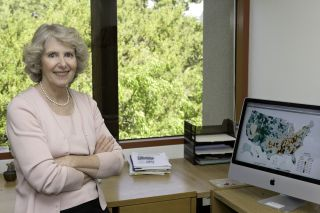 Public health researcher and epidemiologist Marilyn Winkleby, professor of medicine, in her Stanford University office.