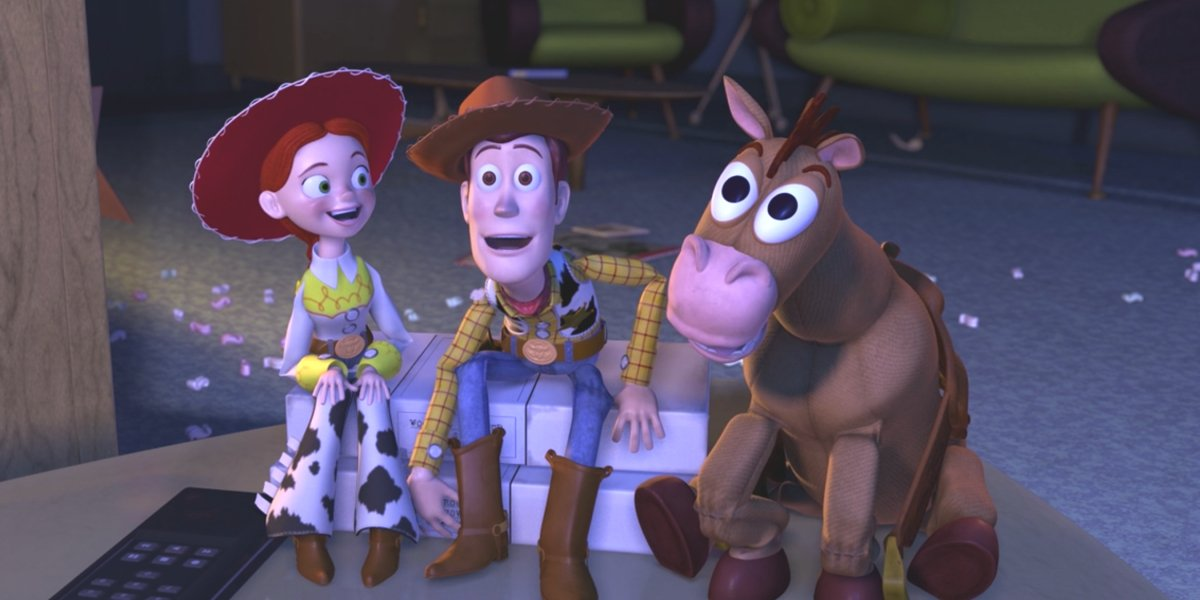 Jessie, Woody, and Bullseye watching tv in Toy Story 2