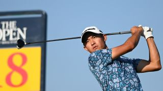 U.S. golfer Collin Morikawa tees off on the 18th during his final round on day 4 of The 149th British Open Golf Championship at Royal St George's, Sandwich in south-east England on July 18, 2021.