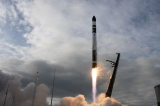 "A Rocket Lab Electron booster launches on the ""Pics Or It Didn't Happen"" mission on July 4, 2020. The rocket's upper stage suffered an anomaly, causing the launch to fail."