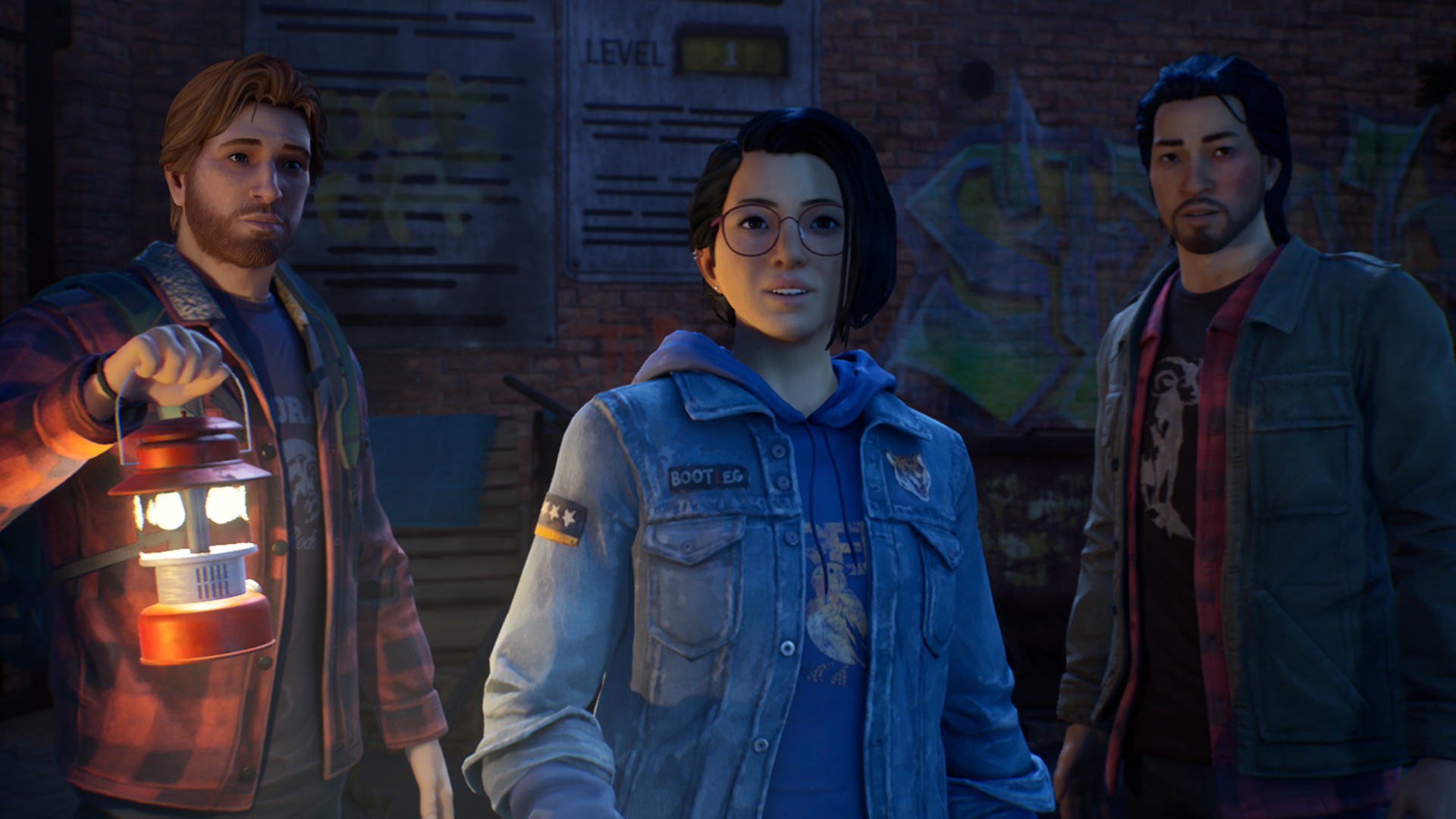 Life Is Strange: True Colors characters standing, looking at something, with one of them holding a lamp