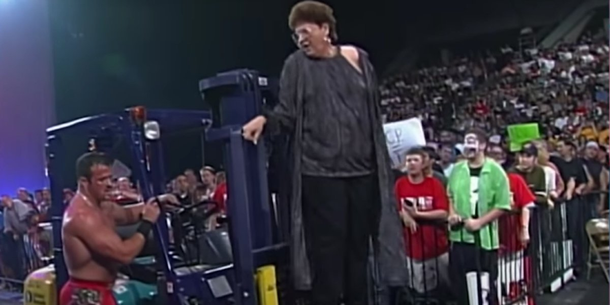 Buff Bagwell and Judy Bagwell after the Judy Bagwell On A Forklift Match