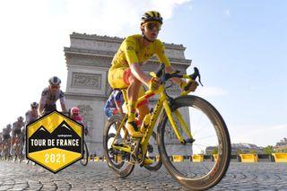 Tadej Pogacar (UAE Team Emirates) riding to victory at the 2020 Tour de France