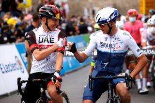 Chris Froome and Tadej Pogacar at the 2021 Tour de France