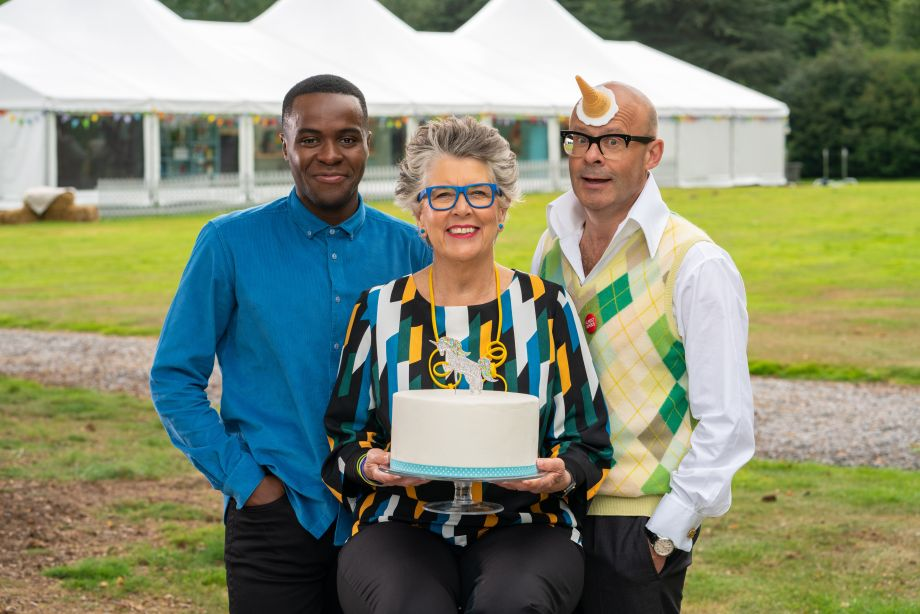 Liam Charles, Prue Leith and Harry Hill in Junior Bake Off