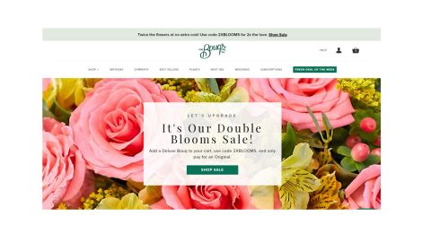 The Bouqs review: Image shows the homepage of The Bouqs' website.