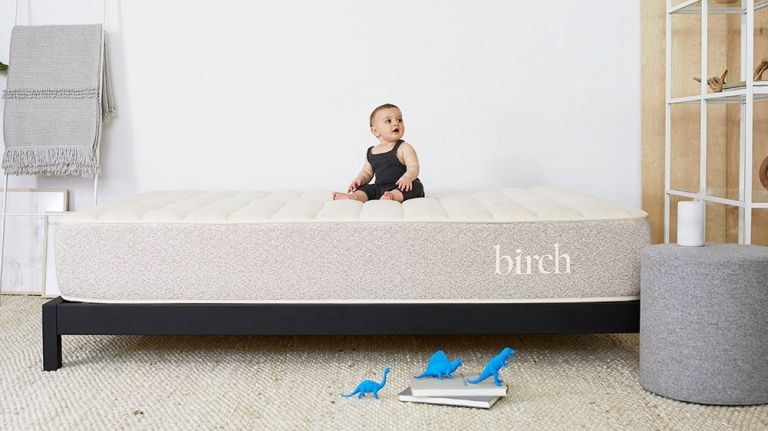 birch mattress lifestyle with baby on bed