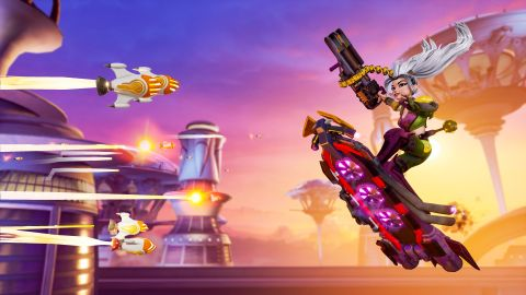 Rocket Arena hero Rev gets ready to dodge a barrage of rockets.