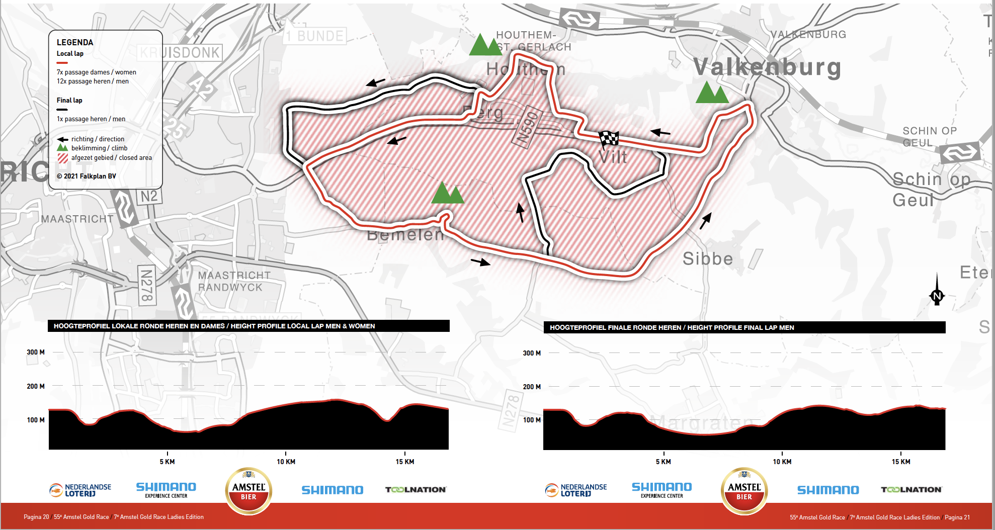 Map and profile for the Amstel Gold Race 2021