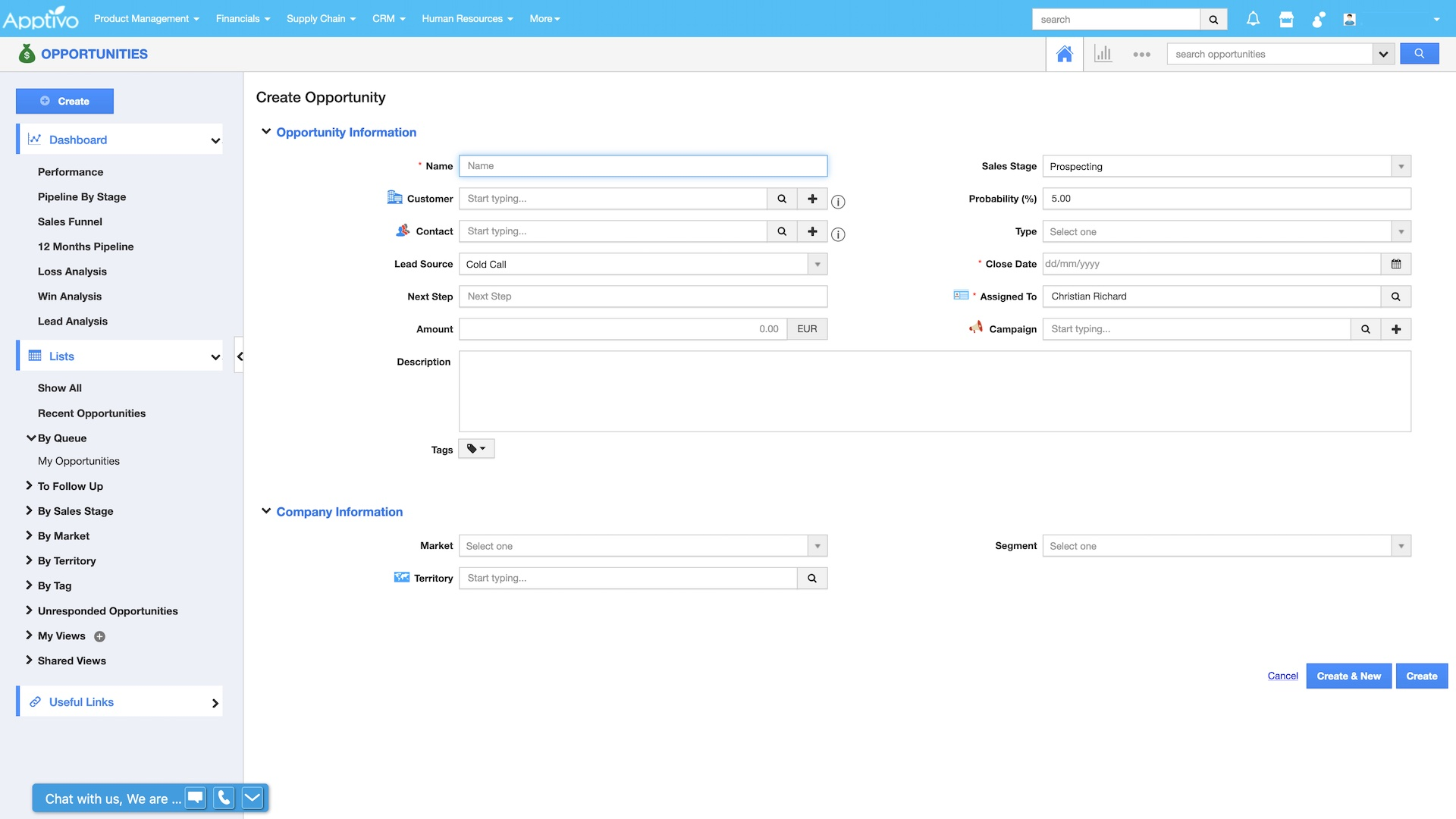 Apptivo's user interface being demonstrated