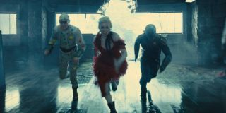 David Dastmalchian, Margo Robbie, and Idris Elba in The Suicide Squad