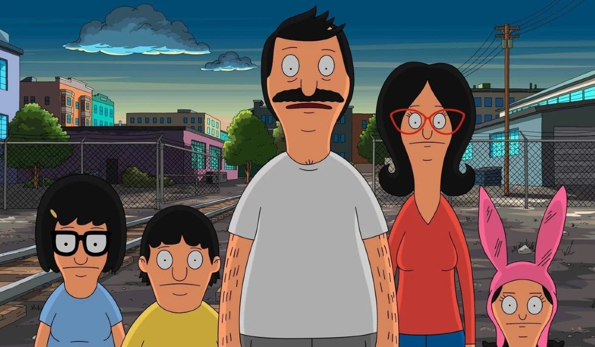 Bob's Burgers the Belcher family outside of the shop