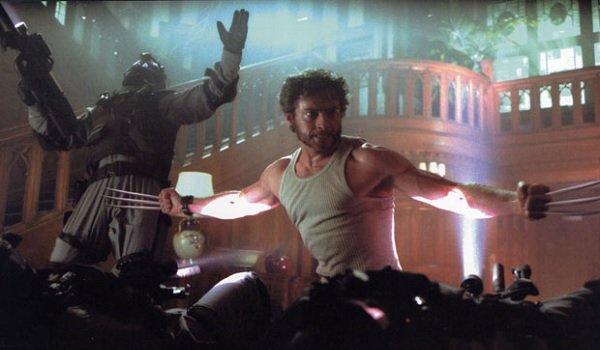 X-2: X-Men United Hugh Jackman Wolverine fights soldiers in the school