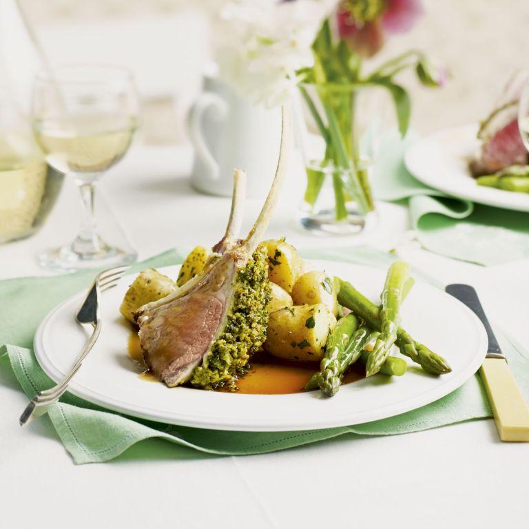 mint pesto-crusted rack of lamb - rack of lamb recipe - mint pesto - pesto - woman and home