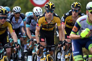 Primož Roglič of Jumbo-Visma rides during second week of Vuelta in third place on GC