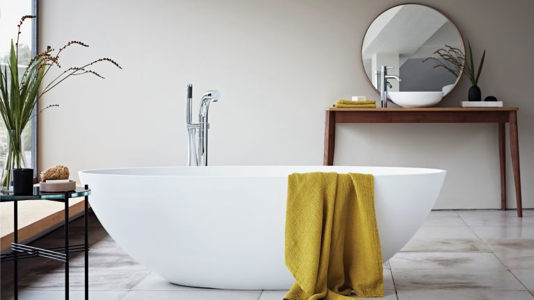 freestanding bath in contemporary feeing bathroom