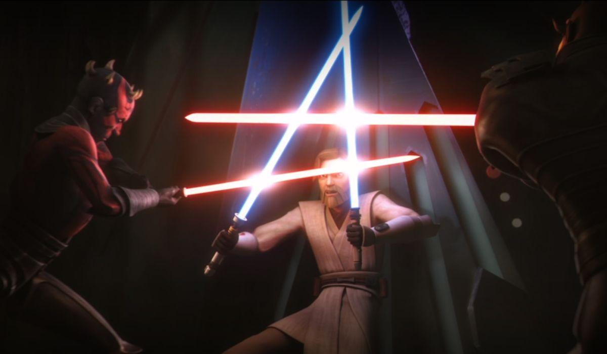 Maul and Savage fighting Obi-Wan in The Clone Wars