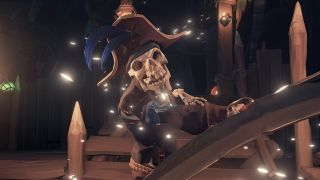 A Sea of Thieves player is locked in combat with a skeletal captain.