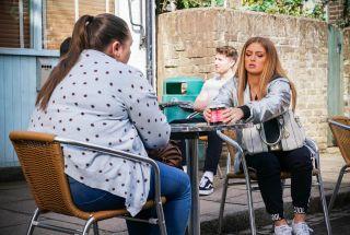 Tiffany Butcher Baker talks to Bernie Taylor in EastEnders