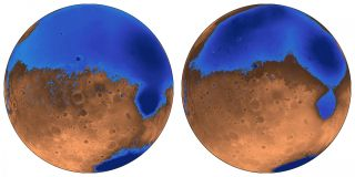 The early Mars ocean known as Arabia (left in blue) would have looked much like this when it formed on the Red Planet 4 billion years ago, when the planet's smaller Deuteronilus ocean was 3.6 billion years old. Their water is now gone, possibly frozen und