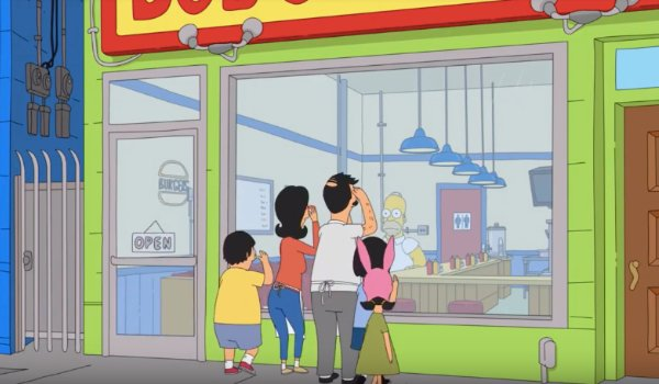 Bob's Burgers family looks into their restaurant to see Homer