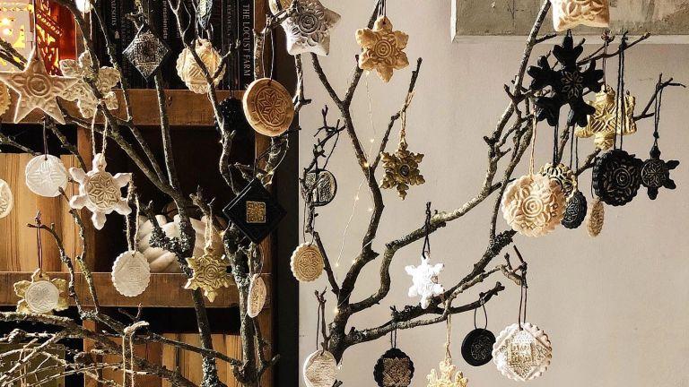 Christmas crafts hanging dough decorations