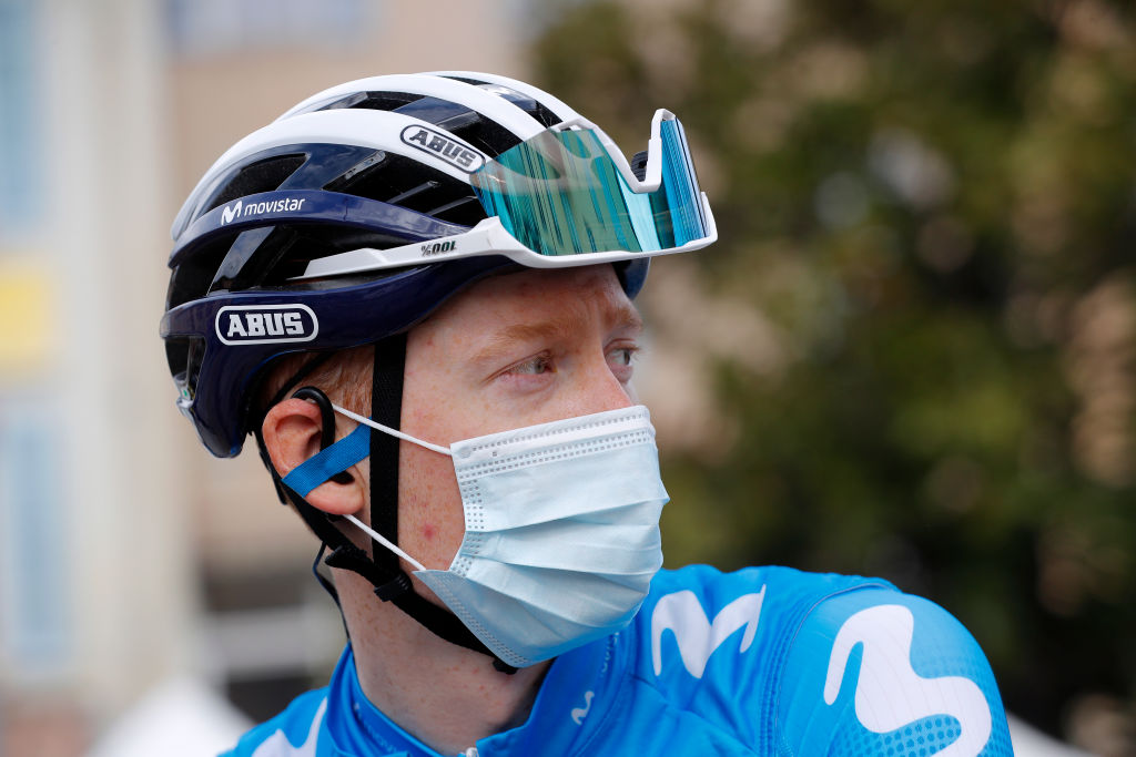 BIOT FRANCE MARCH 12 Start Podium Matteo Jorgenson of United States and Movistar Team during the 79th Paris Nice 2021 Stage 6 a 2025km stage from Brignoles to Biot 120m Mask Covid safety measures Team Presentation ParisNice on March 12 2021 in Biot France Photo by Bas CzerwinskiGetty Images