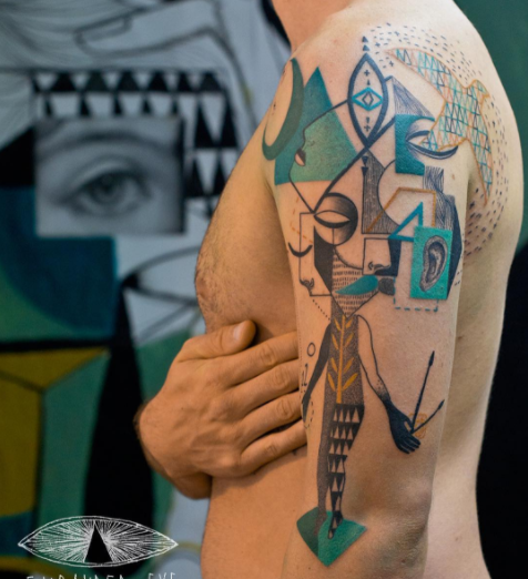 Artistic geometric tattoo