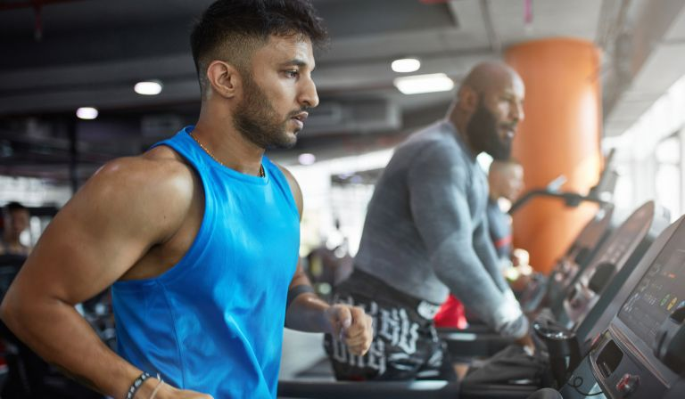 Man exercising to lose weight