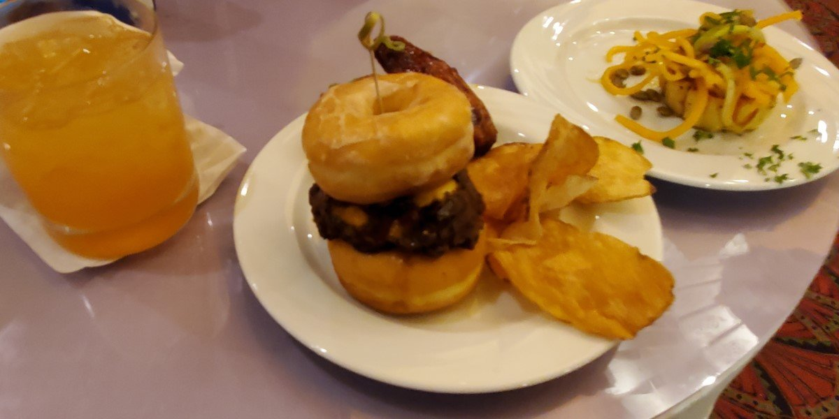 donut slider and ghoul juice at universal orlando's halloween horror nights