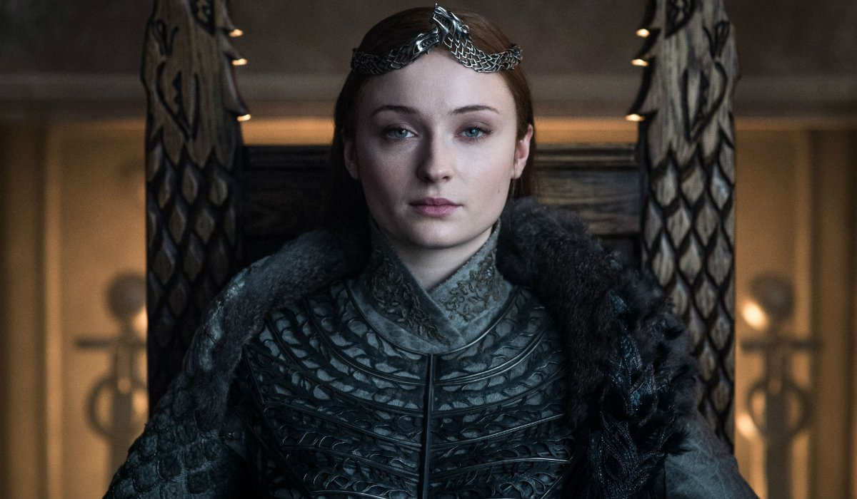 Game Of Thrones Queen Sansa sits on her throne