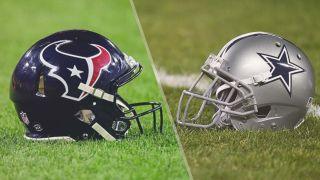 TG_Texans vs Cowboys live stream NFL — Houston Texans and Dallas Cowboys helmets on a field