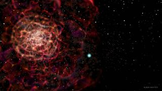 Illustration of big burst of red and bright white star