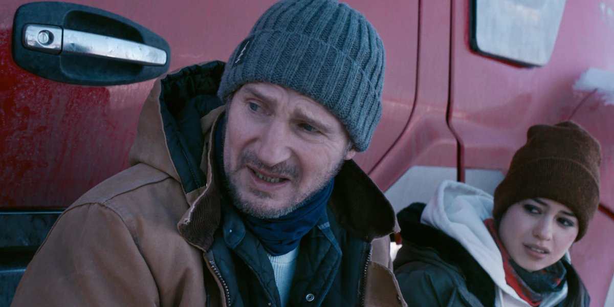 Liam Neeson and Amber Midthunder in The Ice Road