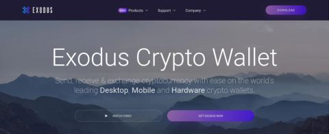 screenshot of Exodus Cryptocurrency wallet