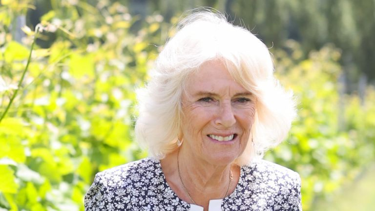 Duchess Camilla of Cornwall holds a vine leaf during a visit to Llanerch Vineyard on July 07, 2021 in Pontyclun, Wales