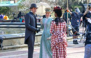 'The Gilded Age' cast Louisa Jacobson, Denée Benton and Thomas Cocquerel filming around the Bethesda Fountain, New York.
