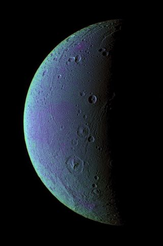 dione faults false color cassini