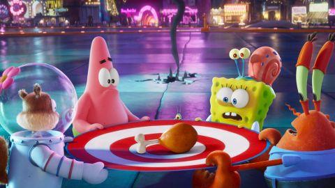 Sandy, Patrick, SpongeBob, Gary, and Mr. Krabs in 'The SpongeBob Movie: Sponge On The Run'.