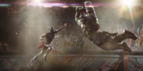 Thor and Hulk facing off in Ragnarok