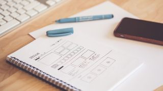 UI vs UX: wireframe on a piece of paper