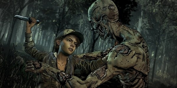 Clementine fights a zombie in The Walking Dead.