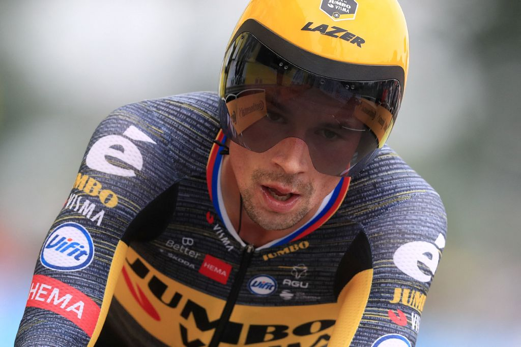Team Jumbo Vismas Primoz Roglic of Slovenia crosses the finish line of the 5th stage of the 108th edition of the Tour de France cycling race a 27 km time trial between Change and Laval on June 30 2021 Photo by Christophe Petit Tesson various sources AFP Photo by CHRISTOPHE PETIT TESSONAFP via Getty Images