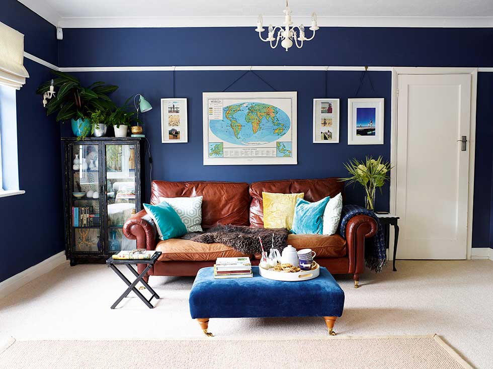 Stylish Blue Living Room Makeover