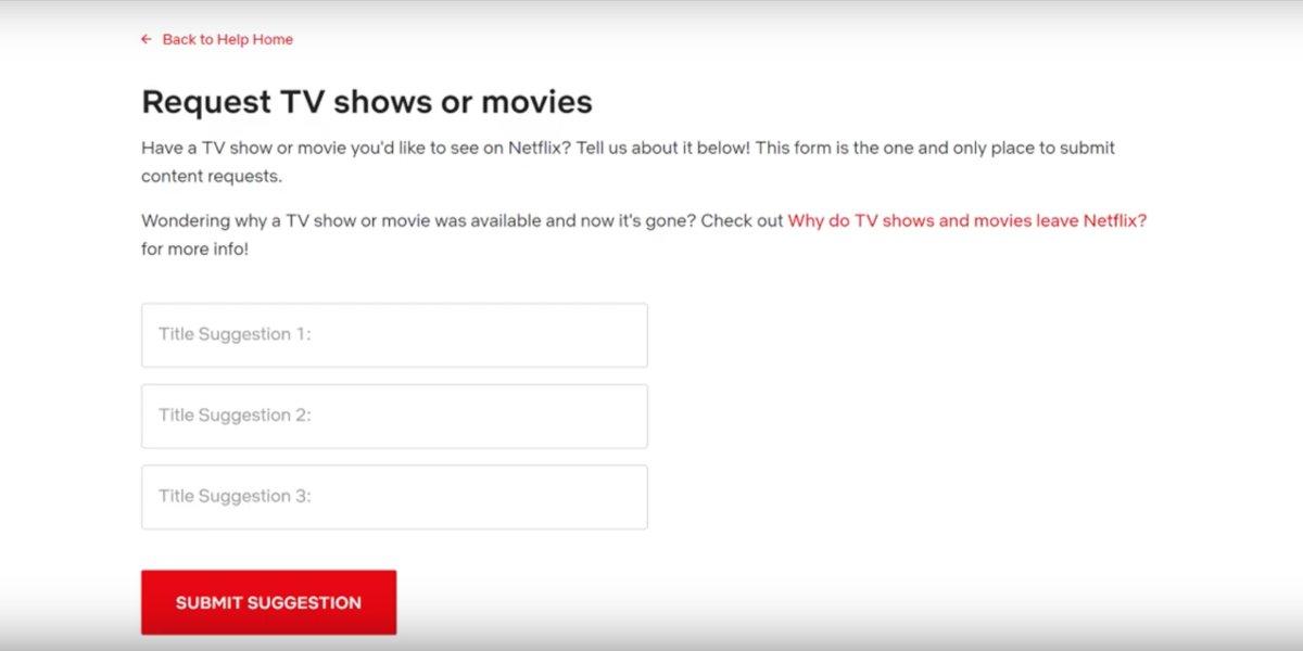 Requesting titles on Netflix
